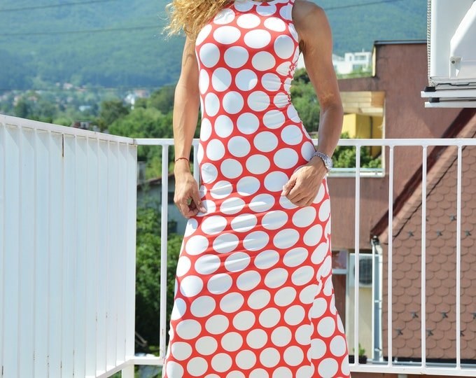 Summer Long Dress, Plus Size Dress, Polka Dots Elegant Dress, Evening Dress, Day Dress, Women Dress by SSDfashion