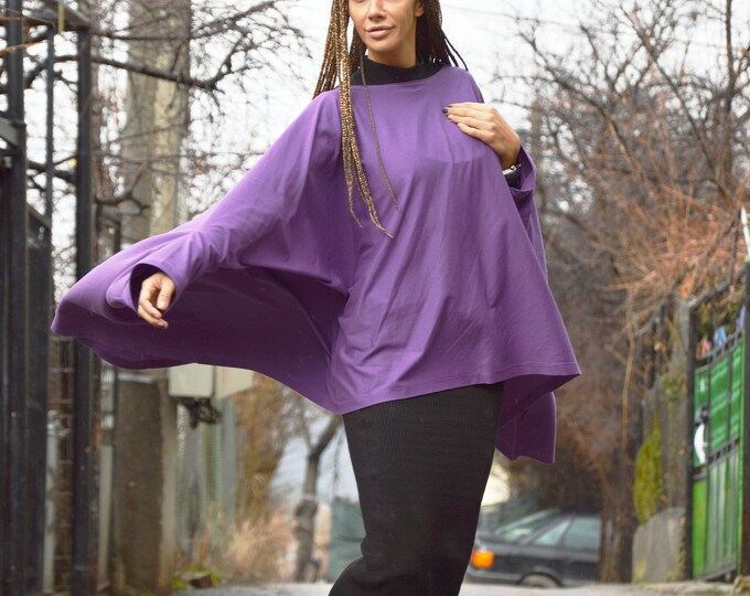 Oversize Cotton Tunic, Purple Shirt, Handmade Top, Casual Tunic Top, Short Sleeve Maxi Tunic, Extravagant Summer Top by SSDfashion
