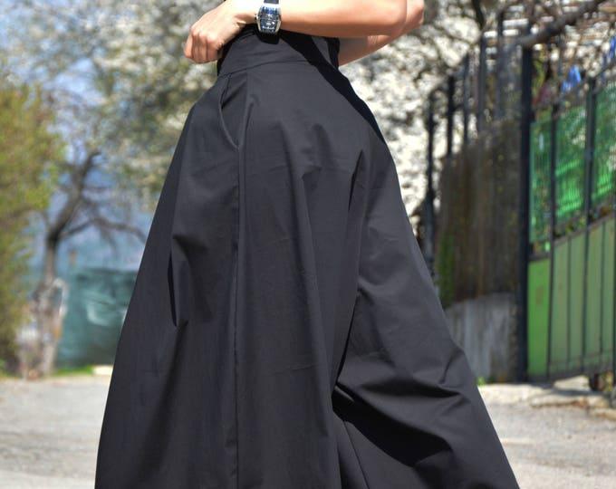 Wide Leg Pants, Womens Black Pants, Summer Pants, Black Trousers, Capri Pants, Skirt Like Pants, Loose Pants by SSDfashion