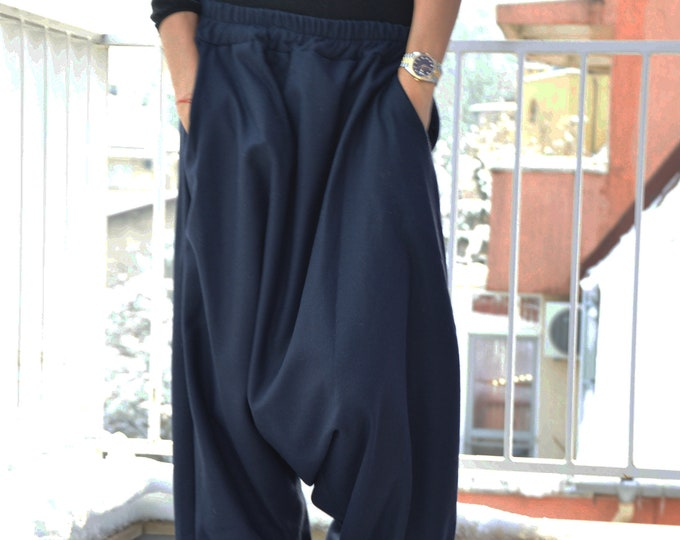 Wool Drop Crotch Harem Pants, Blue Loose Pants, Extravagant Trousers, Urban casual Maxi Pants, Wide Pants, Clothing Pants by SSDfashion
