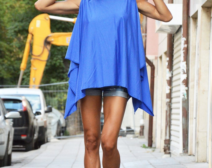Maxi Blue Asymmetric Tunic Top, Plus Size Extravagant Tunic, Fashion Top With Leather Cross Back by SSDfashion