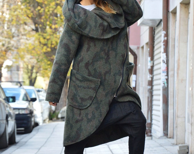 Cashmere Zipper Coat, Extravagant Winter Coat, Military Warm Coat, Women Clothing, Long Sleeves Coat, Maxi Coat by SSDfashion