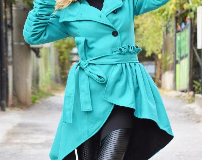 Women's Cashmere Coat, Extravagant Cape Coat, Asymmetric Turquoise Coat, Fashion Women Coats, Long Sleeves Casual Jacket by SSDfashion