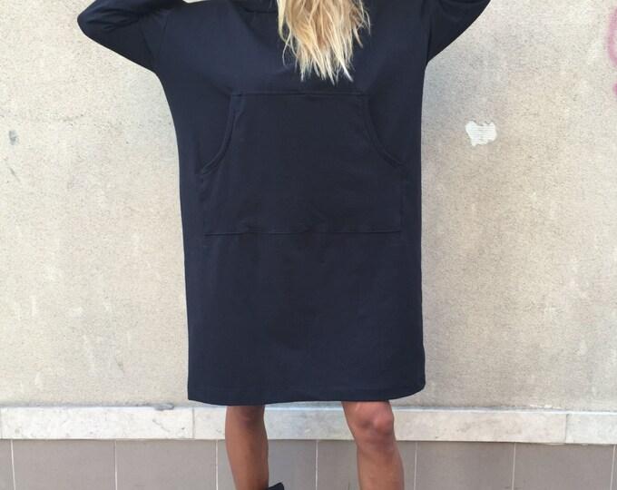 Black Hooded Cotton Sweatshirt, Extravagant Warm Woman Top, Maxi Front Pocket Hoodie, Sport Tunic by SSDfashion