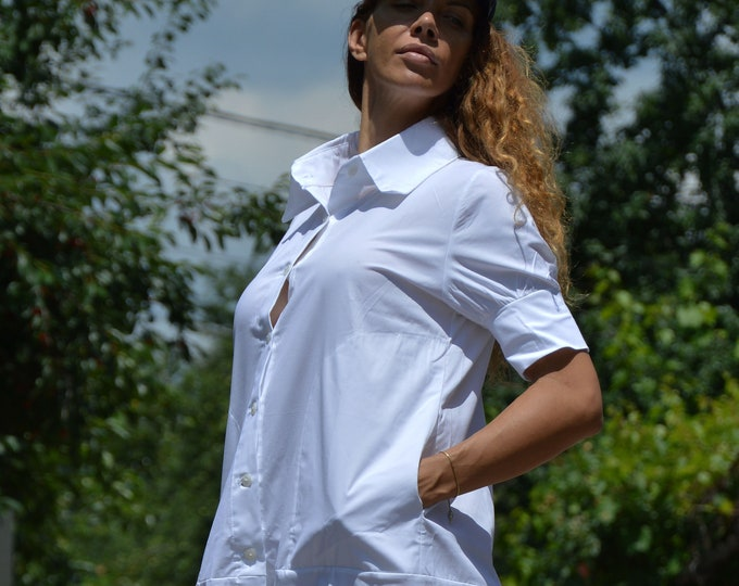 White Cotton Shirt, Plus Size Oversize Top, Elegant Shirt, Short Sleeved Shirt, Medical Shirt, Maxi Top, Poplin Dress by SSDfashion