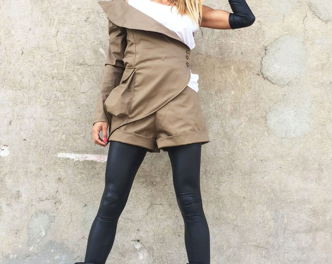 Asymmetrical Brown Stylish Blazer, Cotton Buttoned Blazer, Elegant Coat, One Sleeve Extravagant Jacket, Maxi Coat by SSDfashion