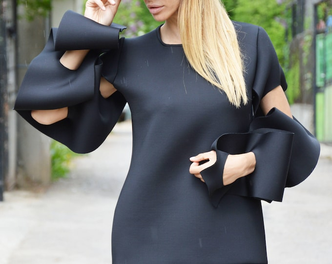 Black Extravagant Long Sleeves, Maxi Neoprene Black Tunic Top, Asymmetrical Tunic, Oversize Blouse by SSDfashion