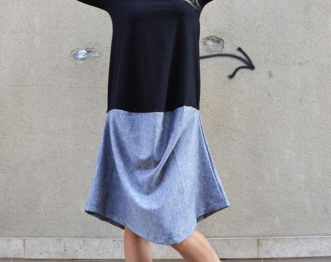 Casual Little Black Grey Dress, Plus Size Dress, Extravagant Maxi Tunic, Cocktail Dress, Asymmetrical Kaftan by SSDfashion
