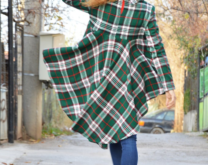 Oversize Scottish Plaid Maxi Tunic, Long Sleeve Extravagant Shirt, Asymmetric Casual Shirt Dress by SSDfashion