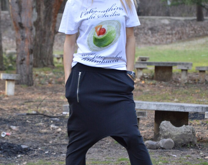 Extravagant Black Harem Pants, Loose Casual Drop Crotch, Cotton Maxi Trousers, Open Bottom Pants by SSDfashion