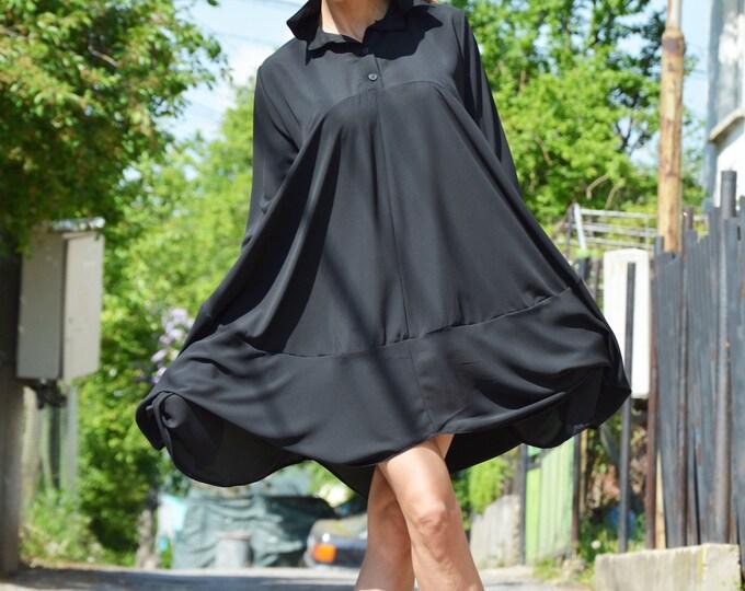 Black Summer Long Shirt, Chiffon Shirt, Oversize Shirt, Elegant Shirt, Maxi Shirt, Extravagant Dress, Everyday Shirt by SSDfashion