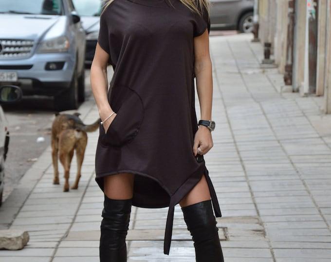 Plus Size Dress, Maxi Tunic Top, Cocktail Dress, Summer Dress, Strappy Dress, Asymmetrical Long Tunic, Brown Dress, Maxi Dress by SSDfashion