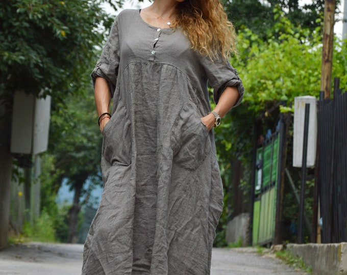 Loose Linen Dress, Dark Grey Party Dress, Women Casual Dress, Midi Dress, Plus Size Dress, Maxi Dress, Summer Dress by SSDfashion