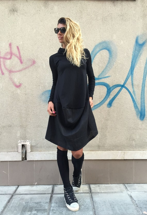 Turtleneck Casual Dress By Black Oversize Asymmetrical Extravagant Little Dress SSDfashion Daywear Top xIUXqOS