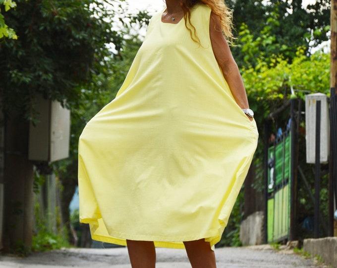 Women's Linen Dress, Plus Size Dress, Midi Dress, Summers Casual Dress, Women's Sleeveless Dress, Yellow Maxi Dress by SSDfashion