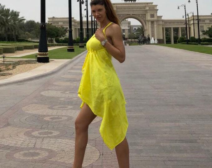 Maxi Extravagant Linen Yellow Dress, Sleeveless Asymmetrical Casual Dress, Oversize Summer Dress, Plus Size Stylish Top by SSDfashion