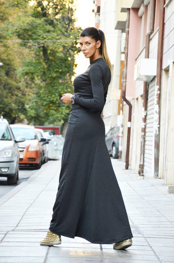 Elegant Dark Grey Dress Women Plus Size Dresses Loose Dress Etsy