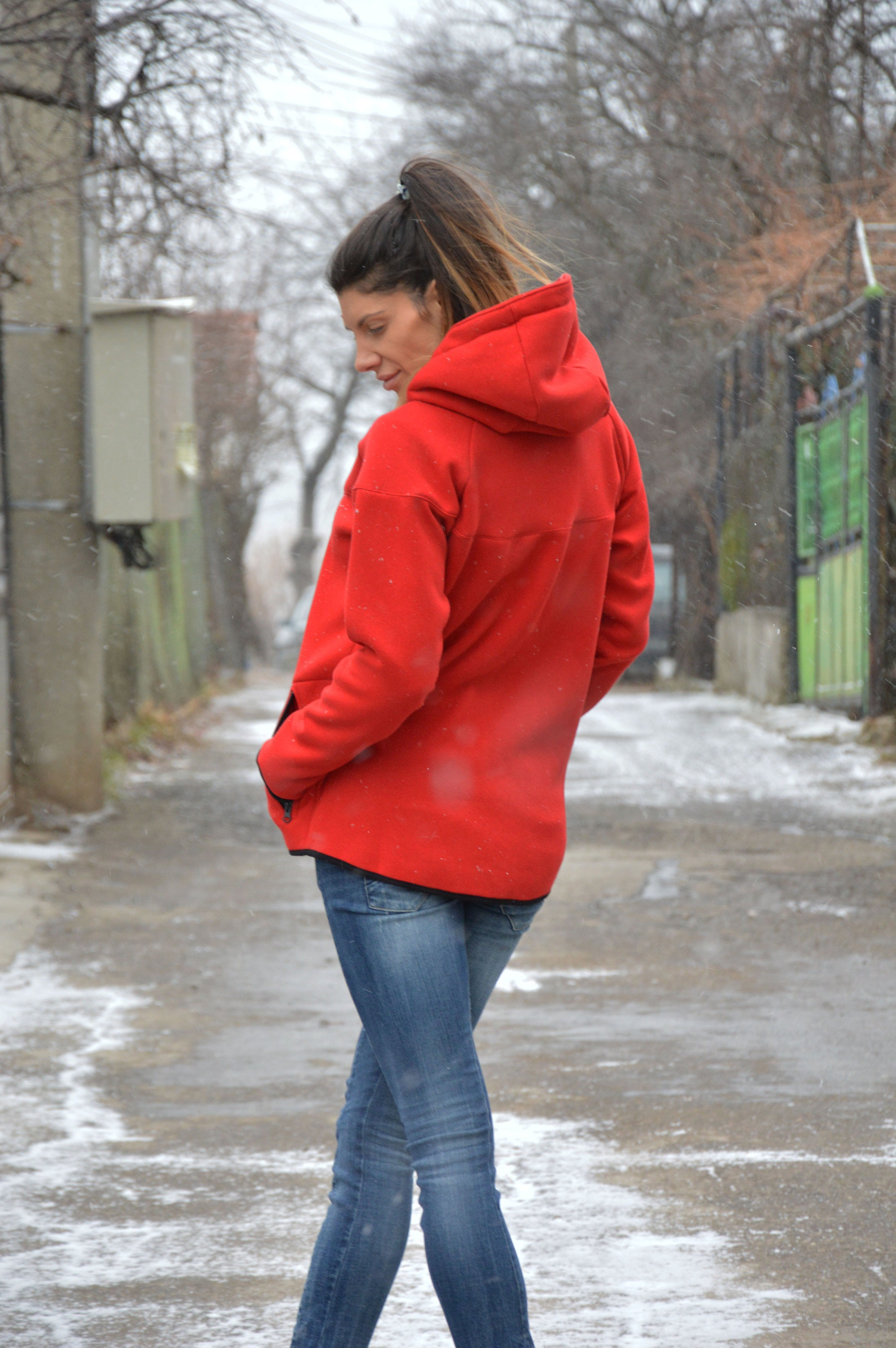 ebcbf8db887 Red Hooded Sweater Jacket