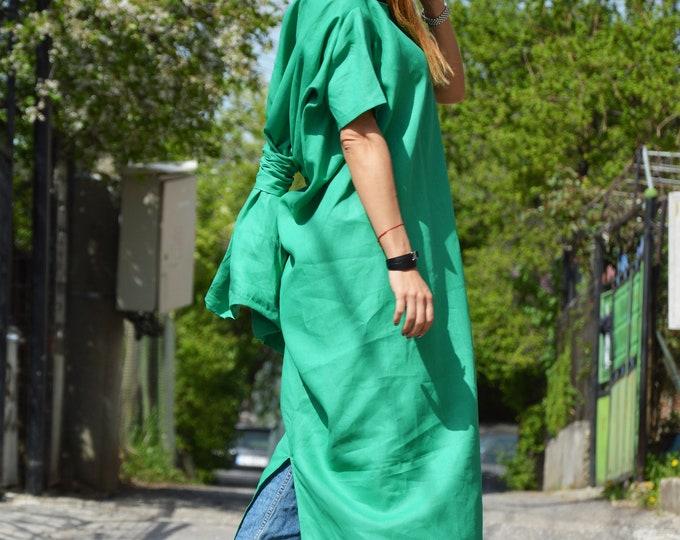 Custom Made Linen Dress, Extravagant Asymmetrical Long Dress, Women Short Sleeves Dress by SSDfashion