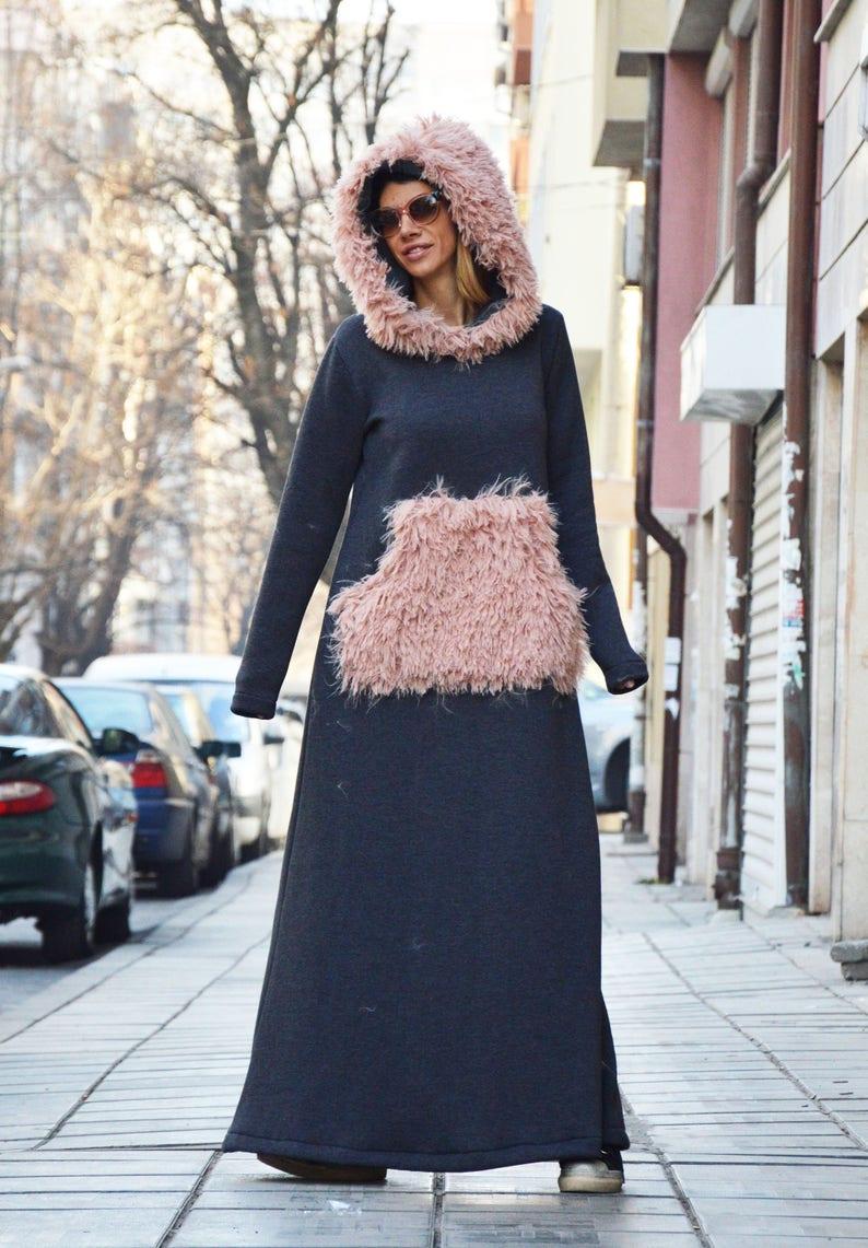 324d42be86b Maxi Hooded Dress Winter Dress Plus Size Kaftan Dress Women