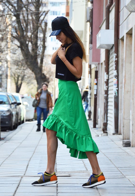 Oversize Short Skirt Cotton Green Plus High Waisted Long by Skirt Extravagant SSDfasion Skirt Size Clothing Skirt Asymmetric IxpAAY0n