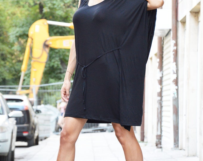 Sexy Little Black Viscose Dress, Extravagant Loose Dress, Party Tunic Top, Daywear Black Dress by SSDfashion