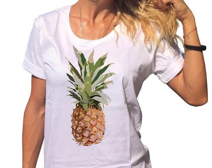 Handmade Printed Hawaii Pineapple White T-shirt, Casual Cotton Top, Handmade Oversize Tshirt, Loose Shirt by SSDfashion