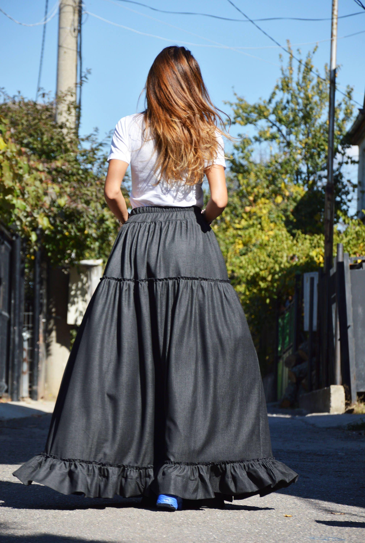 d675a681cb0f Floor Length Denim Maxi Skirt | Huston Fislar Photography