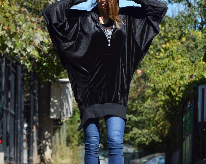 Black Extravagant Maxi Hooded Jacket, Casual Zip Velvet Sweatshirt, Asymmetric Black Jacket by SSDfashion