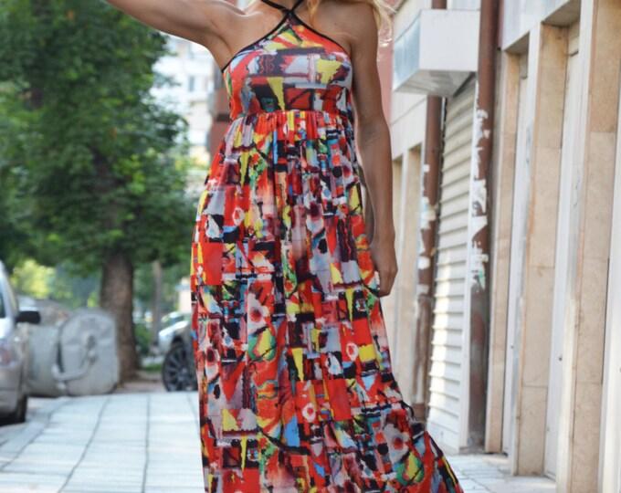 Summer Bloom Dress, Extravagant Long Dress, Maxi Dress, Oversized Dress, Evening Sleeveless Tunic, Maxi Open Back Dress by SSDfashion
