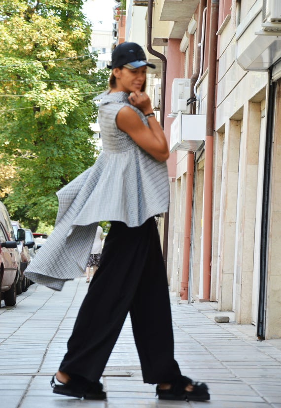 Oversize Shirt Maxi Extravagant Shepherd's Plaid Shirt SSDfashion Casual by Sleeveless Shirt Asymmetric rwrYFq