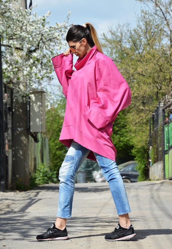 Plus by Tunic Sleeves Turtleneck Asymmetric SSDfashion Top Maxi Loose Shirt Purple Shirt Long Shirt Size Cotton Oversized RxwqZH0I8