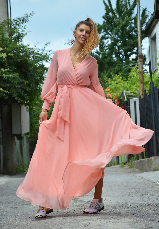 Summer Peach Dress, Long Dress, Maxi Chiffon Dress, Beach Dress ...