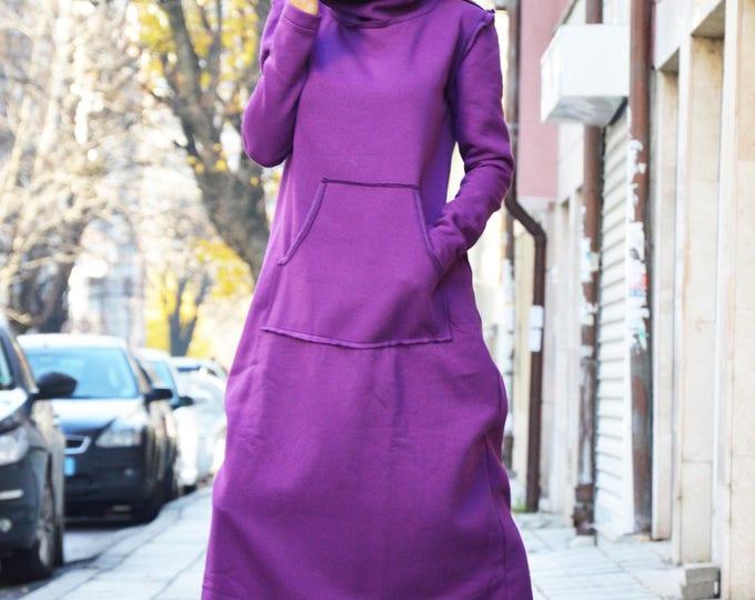 Wadding Maxi Turtleneck Dress, Loose Fitting Long Purple Dress, Extravagant Plus Size Dress With Pocket by SSDfashion
