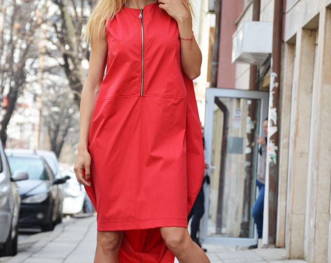 Asymmetric Red Cotton Dress, Extravagant Long Short Dress, Plus Size Maxi Kaftan, Cotton Zipper Tunic, Fashion Dress by SSDfashion