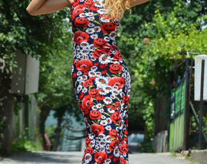 Summer Long Flowers Dress, Women Dress, Loose Dress, Plus Size Dress, Sleeveless Dress, Elegant Dress by SSDfashion