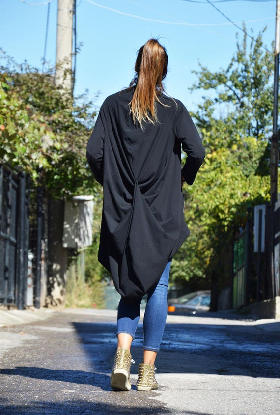 Long Terry Sweatshirt SSDfashion zipped Sleeves Oversize Maxi Extravagant Asymmetric by Tunic Black Cotton French Maxi UwTTq0