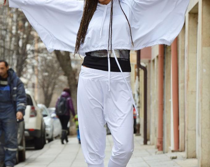 White Hooded Set, Loose Casual Sweatshirt, Drop Crotch Pants, Everyday Sports Set, Extravagant Dress by SSDfashion