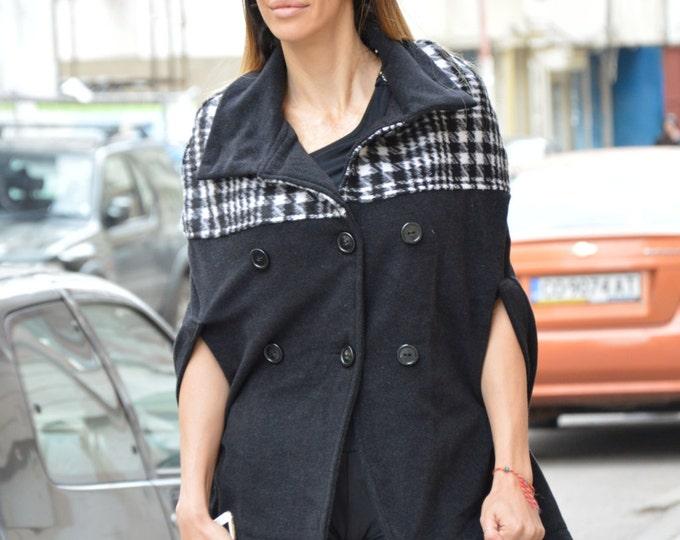 Women's Poncho, Cashmere Wool Jacket, Plus Size Clothing, Sweater Jacket, Extravagant Zipper Coat, Oversize Coat by SSDfashion