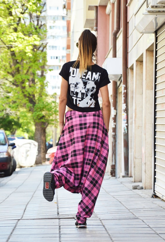 Loose Pants Handmade Plaid SSDfashion Extravagant Pink Harem Clothing Crotch Trousers by Drop Casual Pants EwHEBXqn