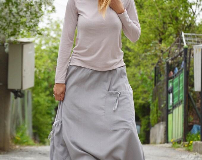 Loose Linen Grey Harem Pants, Extravagant Drop Crotch Pants, Front Pockets Bottom Pants by SSDfashion