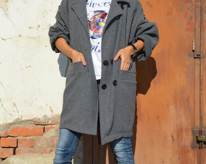 Women's Dark Grey Cashmere Coat, Extravagant Maxi Casual Coat, Asymmetrical Loose Cardigan by SSDfashion