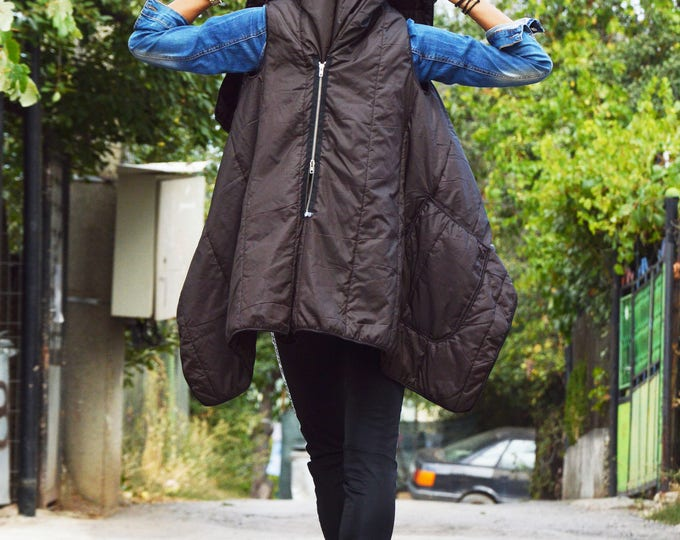 Brown Maxi Vest, Warm Sleeveless Coat, Asymmetric Double Zipper Vest, Maxi Vest, Casual Vest by SSDfashion