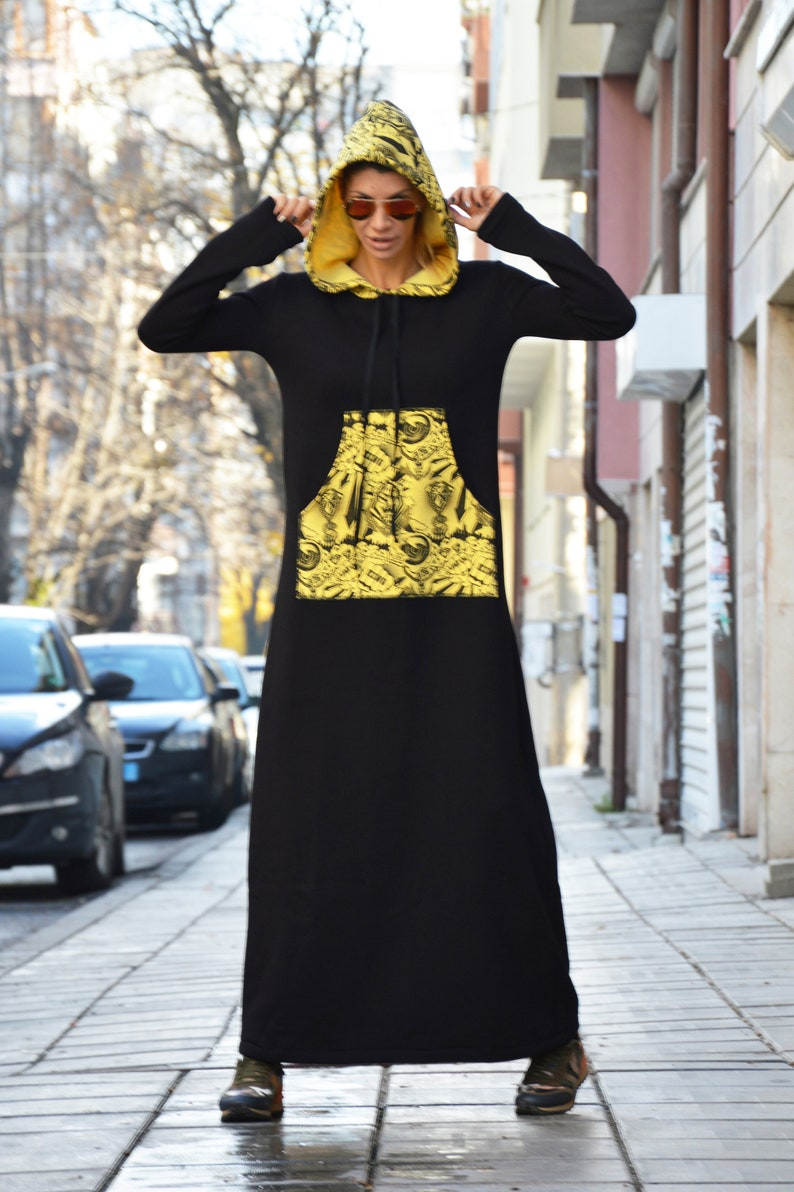 Plus Size Turtleneck Dress Extravagant Hooded Dress Cotton   Etsy
