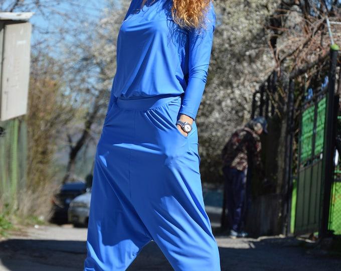 Plus Size Blue Jumpsuit, Extravagant Jumpsuit, Maxi Hooded Jumpsuit, Long Sleeves Jumpsuit, Loose Jumpsuit by SSDfashion