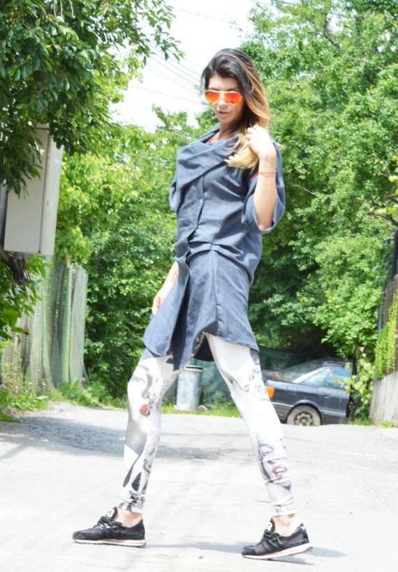 Shirt by SSDfashion Loose Shirt Asymmetric Long Maxi Dark Top Linen Gray Shirt Buttoned Extravagant Oversize wCaq1a