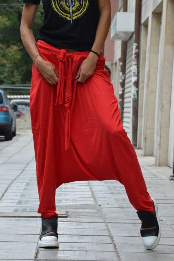 Pants Pants Plus Pants Drop Pants by Womens Maxi Ladies Oversize Harem Harem Trousers SSDfashion Red size Crotch 46wz0qnx