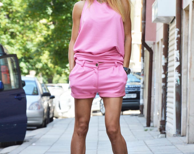Pink Sports Set, Unique Blouse, Maxi Cotton Loose Top, Drop Crotch Shorts, Designer Top, Oversize Combo Set by SSDfashion