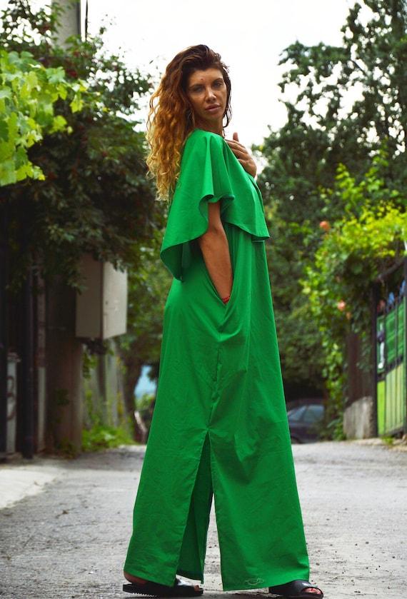 Cotton Long Extravagant Ruffle Dress by Oversize Dress Dress Dress Green Dress Women Elegant Summer SSDfashion Boho Dress Maxi vqIIYU