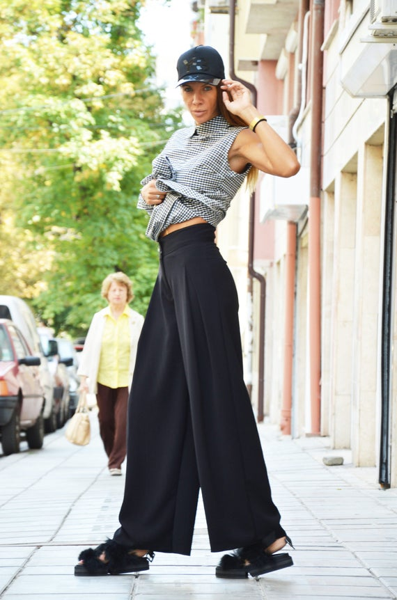 Trousers Loose Maxi Pants SSDfashion Oversize Black Skirt Pants Pants Extravagant HandMade Waist Wide Pants Leg by High qOqBvU